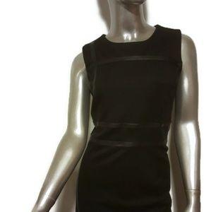 DANA BUCHMAN Black Contrast Leather Trim Dress 10
